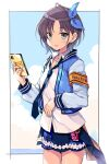 1girl asakura_tooru bangs black_border blouse blue_eyes blue_jacket blue_neckwear blue_ribbon blue_skirt blue_sky border cellphone clouds cloudy_sky collared_blouse commentary_request cowboy_shot grey_hair hair_ribbon holding holding_phone horizon idolmaster idolmaster_shiny_colors jacket letterman_jacket long_sleeves looking_at_viewer loose_necktie miniskirt necktie odawara_hakone open_clothes open_jacket parted_lips phone plaid plaid_skirt ribbon short_hair skirt sky smartphone smile solo standing white_blouse wing_collar