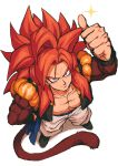 absurdres bare_pectorals biceps blue_eyes dragon_ball dragon_ball_gt from_above fusion gogeta highres looking_at_viewer looking_up monkey_boy monkey_tail no_nipples pectorals red_fur relio_db318 solo spiky_hair super_saiyan super_saiyan_4 tail thumbs_up