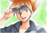 1boy :d bangs black_shirt blue_oak brown_eyes brown_hair collarbone collared_shirt commentary_request green_background hair_between_eyes highres male_focus oka_mochi open_mouth pokemon pokemon_(game) pokemon_sm shirt short_hair smile solo spiky_hair strap sunglasses tongue traditional_media upper_body