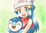 1girl :d bare_arms beanie black_shirt blue_eyes blue_hair commentary_request dawn_(pokemon) green_background hair_ornament hairclip hat holding holding_pokemon long_hair looking_at_viewer oka_mochi open_mouth piplup pokemon pokemon_(anime) pokemon_(creature) pokemon_dppt_(anime) red_scarf scarf shirt sleeveless sleeveless_shirt smile tongue traditional_media white_headwear