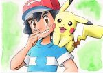 1boy ash_ketchum bangs baseball_cap black_hair blue_shirt brown_eyes commentary_request green_background grin hand_up hat highres looking_at_viewer male_focus oka_mochi on_shoulder pikachu pokemon pokemon_(anime) pokemon_(creature) pokemon_on_shoulder pokemon_sm_(anime) red_headwear shirt short_hair short_sleeves smile striped striped_shirt teeth traditional_media upper_body
