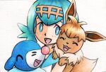 1girl :d bangs blue_eyes blue_hair blue_sailor_collar bright_pupils commentary_request eevee freckles hairband highres lana_(pokemon) looking_at_viewer no_sclera oka_mochi on_shoulder open_mouth pokemon pokemon_(anime) pokemon_(creature) pokemon_on_shoulder pokemon_sm_(anime) popplio sailor_collar shirt short_hair sleeveless sleeveless_shirt smile tongue traditional_media white_background white_pupils white_shirt yellow_hairband