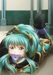 1girl absurdres armor blue_eyes blue_hair bound bound_ankles bound_wrists commission cosplay earrings eirika_(fire_emblem) ephraim_(fire_emblem) ephraim_(fire_emblem)_(cosplay) fire_emblem fire_emblem_heroes gag gagged highres hogtie huge_filesize improvised_gag jewelry long_hair looking_at_viewer narutorenegado01 ponytail solo tape tape_gag