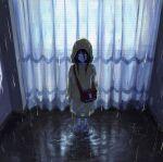 1girl bag black_bag black_hair bright_pupils curtains highres hood hood_up long_hair nashiko_(nanaju_ko) original ripples shoulder_bag solo standing water white_pupils wide_shot