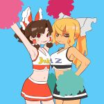 2girls @_@ alternate_costume armpits arms_up bangs benikurage_(cookie) black_skirt blonde_hair bow breasts brown_hair cheerleader closed_mouth clothes_writing commentary_request cookie_(touhou) cowboy_shot crop_top facial_mark frilled_bow frilled_hair_tubes frills green_eyes hair_bow hair_tubes hakurei_reimu highres kirisame_marisa long_hair looking_at_viewer mars_(cookie) medium_breasts medium_hair multiple_girls open_mouth parted_bangs pom_pom_(cheerleading) ponytail red_bow red_eyes red_skirt scotch_(cookie) simple_background skirt small_breasts smile touhou wavy_mouth whisker_markings white_bow