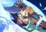 2girls armor armored_dress blue_armor blue_eyes braid brown_hair closed_eyes face-to-face feathers hand_on_another's_back hand_on_another's_cheek hand_on_another's_face helmet highres lenneth_valkyrie long_hair looking_at_another multiple_girls shiho_(valkyrie_profile) shoulder_armor silver_hair valkyrie valkyrie_profile winged_helmet wings yunde_(twez3727) yuri