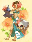 barefoot brown_hair closed_eyes dusclops duskull feet flower fuyou_(pokemon) ghost hair_flower hair_ornament navel open_mouth pokemon pokemon_(game) pokemon_rse short_hair shuppet yapo_(mess) yapo_(pixiv)
