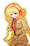 belgium_(hetalia) blonde_hair breasts green_eyes hair_ribbon hinoki144 military military_uniform necktie ribbon sleeves_rolled_up solo uniform