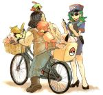 1boy 1girl basket bicycle biker_(pokemon) black_hair clefairy eevee green_hair igglybuff junsaa_(pokemon) magby natu pichu pokemon pokemon_(anime) pokemon_(creature) pokemon_(game) pokemon_gsc pokemon_rgby police police_uniform policewoman sunglasses uniform yapo_(mess)