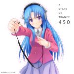 a_state_of_trance blue_hair blush foreshortening hands headphones kawashima_ami kisaragi_miyu long_hair parody purple_eyes school_uniform smile toradora! violet_eyes