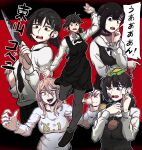 +_+ 1girl 2girls absurdres apron bangs black_eyes black_hair black_neckwear bow bowtie burger business_suit chainsaw_man choker collared_shirt crosshair crosshair_pupils crying demon_girl demon_horns dinoyhs food formal full_body hair_ornament hairclip higashiyama_kobeni highres holding holding_weapon horns knife looking_at_viewer mole mole_under_eye mole_under_mouth multiple_girls multiple_views necktie one_eye_closed pants pink_hair power_(chainsaw_man) red_horns shirt shirt_tucked_in shoes speech_bubble suit sweat tongue translation_request weapon yellow_eyes