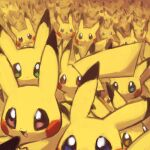 :d blue_eyes brown_eyes commentary fouinar green_eyes lowres no_humans open_mouth pikachu pokemon pokemon_(creature) smile tongue too_many too_many_pikachu