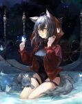 absurdres ahoge animal animal_ears arknights black_swimsuit butterfly_on_finger casual_one-piece_swimsuit chinese_commentary commentary_request grey_hair hair_between_eyes hands_up highres hood hood_down jacket long_hair looking_at_viewer official_alternate_costume one-piece_swimsuit open_clothes open_jacket open_mouth projekt_red_(arknights) projekt_red_(light_breeze)_(arknights) qianzhu red_jacket seiza sitting swimsuit tail thigh_strap wolf wolf_ears wolf_girl wolf_tail