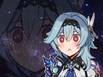 1girl :< artist_name bangs blue_hair blush_stickers close-up commentary english_commentary eula_(genshin_impact) eyebrows_visible_through_hair galaxy genshin_impact hair_between_eyes hair_ornament hairband kibashiba long_hair looking_at_viewer meme necktie red_eyes sidelocks sky solo space_cat_(meme) star_(sky) starry_sky universe vision_(genshin_impact) zoom_layer