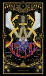 1boy absurdres alger_wilson animal_print arms_behind_back beard black_robe blue_hair cape chinese_commentary closed_eyes closed_mouth commentary_request facial_hair fangs fish_print highres lord_of_the_mysteries moon moon_phases solo star_(sky) star_(symbol) symbol symbolism tarot tarot_arcana the_hanged_man_(tarot) upside-down white_cape yellow_belt yubing156