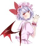 1girl bangs bat_wings black_nails blush bow closed_mouth dress eyebrows_visible_through_hair hands_together hands_up hat hat_bow highres looking_at_viewer mob_cap pink_dress pink_headwear pink_sleeves puffy_short_sleeves puffy_sleeves purple_hair red_bow red_eyes remilia_scarlet short_hair short_sleeves signature simple_background solo souta_(karasu_no_ouchi) touhou white_background wings wrist_cuffs