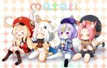 4girls :d ^_^ ^o^ ahoge animal_ears ass backpack bag bandaged_leg bandages bangs bangs_pinned_back bead_necklace beads belt black_scarf black_shorts bloomers blush boots bottle brown_footwear brown_gloves brown_scarf cabbie_hat cape cat_ears cat_girl cat_tail checkered checkered_background chibi chinese_clothes closed_eyes clover_print coat coin_hair_ornament commentary_request detached_sleeves diona_(genshin_impact) dodoco_(genshin_impact) doll doughnut dress drinking drinking_straw drinking_straw_in_mouth earrings eyebrows_visible_through_hair food food_on_face forehead genshin_impact gloves hair_between_eyes hair_ornament hair_ribbon hat hat_feather hat_ornament holding holding_bottle holding_doll holding_food jewelry jiangshi klee_(genshin_impact) knee_boots kneehighs knees_together_feet_apart light_brown_hair long_hair long_sleeves looking_at_viewer low_ponytail low_twintails mechanical_halo milk milk_bottle mitsubasa_miu multiple_girls navel necklace ofuda open_mouth orb paimon_(genshin_impact) paw_print pink_hair pointy_ears puffy_detached_sleeves puffy_shorts puffy_sleeves purple_hair qing_guanmao qiqi_(genshin_impact) randoseru red_coat red_headwear ribbon scarf short_hair shorts sidelocks simple_background sitting smile stuffed_animal stuffed_toy tail taiyaki thigh-highs twintails underwear violet_eyes vision_(genshin_impact) wagashi wariza white_dress white_footwear white_gloves white_hair white_legwear yin_yang yin_yang_orb zettai_ryouiki