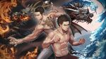 2boys abs absurdres afro black_hair brown_hair clenched_hand clenched_hands colored_sclera dragon dragonfish eastern_dragon facial_hair fangs fire grey_pants highres horns irezumi jewelry kasuga_ichiban kiryuu_kazuma male_focus manly multiple_boys necklace pants red_pants ryuu_ga_gotoku ryuu_ga_gotoku_1 ryuu_ga_gotoku_7 sharp_teeth smile syu_uban tattoo teeth trait_connection water yellow_sclera