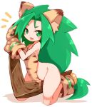 1girl animal_ears animal_hands animal_print boomerang breasts cat_ears cham_cham gloves green_eyes green_hair karukan_(monjya) long_hair looking_at_viewer no_panties open_mouth paw_gloves paw_shoes samurai_spirits shoes simple_background small_breasts smile solo tiger_print white_background
