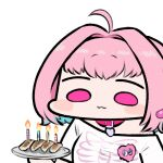 1girl ahoge bangs blue_hair blush_stickers candle chibi closed_mouth collar commentary dumpling eyebrows_visible_through_hair food heart holding holding_plate idolmaster idolmaster_cinderella_girls jazz_jack jiaozi lowres multicolored_hair pink_eyes pink_hair plate short_eyebrows simple_background skeleton_print two-tone_hair upper_body white_background yumemi_riamu