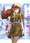 1girl amanogawa_kirara amawa_kazuhiro brown_hair casual city commentary_request dress earrings eyelashes go!_princess_precure hair_ornament hairband highres jewelry leggings long_hair looking_at_viewer precure ribbon solo standing star_(symbol) star_earrings twintails violet_eyes