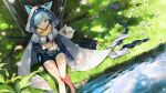 1girl animal_ears animal_hood artist_request bandeau belt belt_pouch black_gloves black_shorts blue_hair cloak cornelia_(girl_cafe_gun) day elbow_gloves fake_animal_ears girl_cafe_gun gloves green_eyes gun headphones highres hood hooded_cloak looking_at_viewer midriff navel official_art outdoors petals pouch rifle short_hair short_shorts shorts sitting sniper_rifle soaking_feet solo stomach strapless stuffed_animal stuffed_cat stuffed_toy thighs tree_shade tube_top water weapon weapon_on_back