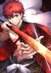 1boy abs cape embers emiya_shirou expressionless fate/grand_order fate_(series) glint glowing glowing_weapon herigaru_(fvgyvr000) highres holding holding_sword holding_weapon igote looking_at_viewer male_focus redhead senji_muramasa_(fate) solo sword tattoo toned toned_male upper_body weapon white_cape wristband yellow_eyes