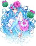 1girl akirannu bare_shoulders blue_hair bridal_gauntlets bridal_legwear cactus closed_mouth commentary_request copyright_request double_bun flower full_body hair_flower hair_ornament highres knees_up leotard long_hair looking_at_viewer official_art purple_flower red_eyes simple_background solo very_long_hair white_background white_leotard