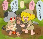 2girls alice_margatroid alternate_costume animal_ears banana bangs blonde_hair boots brown_footwear brown_shirt brown_shorts closed_eyes closed_mouth commentary_request cookie_(touhou) eyebrows_visible_through_hair food forest fruit full_body helmet ichigo_(cookie) kneeling manatsu_no_yo_no_inmu medium_hair monkey mouse_ears mouse_girl mouse_tail multiple_girls nature nazrin nyon_(cookie) open_mouth outdoors phallic_symbol pith_helmet red_eyes rock scotch_(cookie) shirt shorts tail touhou translation_request