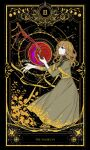 1girl absurdres beads bleeding blood blouse blue_eyes bone bracelet brown_dress brown_hair chinese_commentary commentary_request dress fors_wall highres jewelry long_dress long_hair looking_at_object lord_of_the_mysteries moon moon_phases plant red_moon skeletal_arm smile solo star_(sky) star_(symbol) symbol symbolism tarot tarot_arcana the_magician_(tarot) yubing156