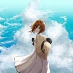 1girl arms_behind_back brown_eyes brown_hair clouds from_behind hat highres holding holding_clothes holding_hat kantai_collection lanthan looking_at_viewer looking_back short_hair smile solo straw_hat yukikaze_(kancolle)