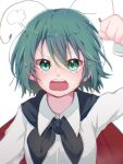 1girl =3 annoyed antennae bangs black_cape blush breasts cape collared_shirt commentary_request eyebrows_visible_through_hair green_eyes green_hair hair_between_eyes highres looking_at_viewer open_mouth red_cape shirt short_hair simple_background small_breasts snow_to_you solo tears touhou two-sided_cape two-sided_fabric upper_body white_background white_shirt wriggle_nightbug