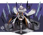 1girl absurdres animal_ears arknights belt black_belt black_footwear black_gloves black_legwear black_skirt boots breasts capelet character_name closed_mouth coat commentary frostnova_(arknights) full_body gloves grey_eyes grey_shirt hair_ornament hair_over_one_eye hairclip highres holding holding_sword holding_weapon ice_shard kakiyokan knee_boots knife looking_at_viewer medium_hair miniskirt open_clothes open_coat orange_ribbon originium_arts_(arknights) rabbit_ears ribbon scar scar_on_face shirt silver_hair skirt small_breasts solo sword thigh-highs thighhighs_under_boots thighs weapon white_background white_capelet white_coat