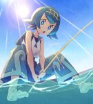 1girl bangs bare_arms barefoot black_swimsuit blue_eyes blue_hair blue_pants blue_sailor_collar bright_pupils commentary day eyelashes fishing_rod freckles from_below hairband holding holding_fishing_rod lana_(pokemon) lens_flare looking_at_viewer momoji_(lobolobo2010) no_sclera one-piece_swimsuit open_mouth outdoors pants pokemon pokemon_(game) pokemon_sm sailor_collar shirt short_hair sky sleeveless sleeveless_shirt soaking_feet solo sun swimsuit swimsuit_under_clothes toes tongue twitter_username water white_pupils white_shirt yellow_hairband