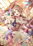 1girl absurdres apron bird bird_on_hand birthday blush checkered checkered_skirt earrings hand_up hat highres jewelry light_brown_hair long_hair looking_at_viewer love_live! love_live!_school_idol_festival_all_stars love_live!_school_idol_project minami_kotori open_mouth pink_skirt puffy_short_sleeves puffy_sleeves ranemu short_sleeves skirt smile solo stuffed_animal stuffed_bird stuffed_toy upper_teeth wrist_cuffs