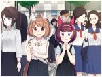 alternate_costume animal_ears bag balladeluce blurry blurry_background brown_eyes brown_hair casual commentary_request handbag hands_clasped headband highres horse_ears horse_girl looking_at_viewer multiple_boys multiple_girls nishino_flower_(umamusume) own_hands_together school_uniform short_hair tree umamusume yukino_bijin_(umamusume)