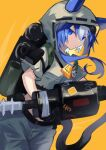 1girl animal_ears arknights backpack bag black_bag blue_eyes blue_hair candy cowboy_shot cropped_jacket dutch_angle ears_through_headwear food glaucus_(arknights) glaucus_(exterminator_in_the_square)_(arknights) green_jacket grey_pants holding_ghostbuster hood hood_up hose jacket lollipop long_hair mouth_hold multicolored_hair official_alternate_costume one-hour_drawing_challenge pants sasa_onigiri simple_background solo two-tone_hair yellow_neckwear