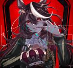1girl animal_ears ascot bangs blush brown_hair commentary_request crown dress eyebrows_visible_through_hair green_dress hair_between_eyes hand_up highres horse_ears king_(vocaloid) long_hair long_sleeves looking_at_viewer mouth_pull multicolored_hair nuruponnu parted_lips pink_eyes red_background simple_background solo streaked_hair symboli_rudolf_(umamusume) throne umamusume upper_body upper_teeth very_long_hair white_neckwear