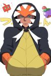 1boy annoyed aqua_eyes black_hair black_hoodie cherrim cherrim_(overcast) chikichan closed_mouth dark-skinned_male dark_skin hands_in_pockets hood hood_up hoodie long_sleeves looking_at_viewer male_focus pokemon pokemon_(game) pokemon_swsh raihan_(pokemon) rotom rotom_phone simple_background solo solo_focus undercut white_background