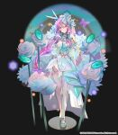 1girl absurdres breasts bug butterfly chloris_(hero_cantare) choker closed_mouth detached_sleeves dress earrings flower hair_ornament hero_cantare highres jewelry large_breasts leenim long_hair looking_at_viewer musical_note necklace official_art open_hands pink_hair purple_butterfly rose shiny shiny_hair short_dress solo thick_thighs thighs very_long_hair violet_eyes white_choker white_dress white_flower white_legwear white_rose
