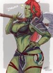 1girl armor artist_name axe border breasts character_name colored_skin cowboy_shot english_commentary eyebrows_visible_through_hair green_skin grey_background hand_on_hip holding holding_axe iahfy large_breasts long_hair looking_at_viewer muscular muscular_female navel orc patreon_username pointy_ears redhead shoulder_armor shoulder_spikes skull solo spikes tattoo teeth tongue tusks twitter_username watermark white_border yellow_eyes zargala