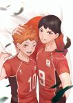 2boys antweiyi black_feathers black_hair blue_eyes cape falling_feathers feathers haikyuu!! hand_on_another's_head headpat hinata_shouyou holding holding_cape kageyama_tobio looking_at_viewer male_focus multiple_boys one_eye_closed open_mouth orange_eyes orange_hair red_shirt shirt short_hair smile sportswear teeth upper_body volleyball_uniform white_cape
