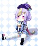 1girl bandaged_leg bandages bangs bead_necklace beads bottle cape checkered checkered_background chibi chinese_clothes coin_hair_ornament commentary_request drinking drinking_straw drinking_straw_in_mouth earrings eyebrows_visible_through_hair genshin_impact hair_between_eyes hat holding holding_bottle jewelry jiangshi long_hair long_sleeves looking_at_viewer low_ponytail milk milk_bottle mitsubasa_miu necklace ofuda orb purple_hair qing_guanmao qiqi_(genshin_impact) sidelocks simple_background solo thigh-highs violet_eyes vision_(genshin_impact) white_legwear wide_sleeves yin_yang yin_yang_orb zettai_ryouiki
