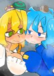 @_@ animal_on_head bangs best_buy blonde_hair blue_eyes blue_hair blue_shirt blush breast_press breasts closed_mouth commentary_request cookie_(touhou) employee_uniform fuckin_animal green_eyes hair_between_eyes highres kawashiro_nitori kirisame_marisa kofji_(cookie) large_breasts long_hair looking_at_another mars_(cookie) medium_hair middle_finger mushroom mushroom_on_head on_head scotch_(cookie) shirt snail symmetrical_docking touhou uniform upper_body wavy_mouth white_shirt