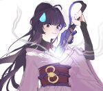 1girl bangs closed_mouth company_connection cosplay crossover electricity genshin_impact hair_between_eyes holding holding_sword holding_weapon honkai_(series) honkai_impact_3rd japanese_clothes katana kimono long_hair long_sleeves looking_at_viewer mihoyo_technology_(shanghai)_co._ltd. ponytail purple_hair purple_kimono raiden_mei raiden_shogun raiden_shogun_(cosplay) simple_background smile solo sweatdrop sword violet_eyes weapon white_background yumeeeeeeko