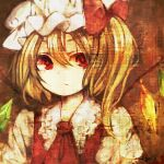 1girl ascot bangs blonde_hair bow closed_mouth collar collared_dress crystal dress eyebrows_visible_through_hair eyes_visible_through_hair flandre_scarlet garan_co hair_between_eyes hat hat_bow jewelry looking_to_the_side lowres mob_cap multicolored multicolored_wings one_side_up puffy_short_sleeves puffy_sleeves red_bow red_dress red_eyes red_neckwear shirt short_hair short_sleeves solo touhou upper_body white_headwear white_shirt white_sleeves wings
