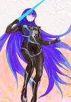1boy androgynous armor arqa bangs blue_hair bodysuit collarbone eyelashes flying gloves long_hair looking_at_viewer male_focus protagonist_(smtv) purple_hair shin_megami_tensei shin_megami_tensei_v simple_background solo sword very_long_hair weapon yellow_eyes
