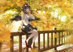 1girl adapted_costume ahoge autumn autumn_leaves backlighting bare_shoulders bird_wings black_hair black_skirt black_wings blurry blurry_foreground breasts brown_hair camera closed_mouth collared_shirt commentary_request commission day depth_of_field domotolain expressionless feathered_wings full_body hand_in_hair hand_up hat highres looking_ahead medium_breasts medium_skirt mixed-language_commentary on_railing outdoors pleated_skirt pom_pom_(clothes) red_eyes red_footwear red_headwear shameimaru_aya shirt short_hair sitting skirt sleeveless sleeveless_shirt solo sunlight sweatband tokin_hat touhou tree white_shirt wing_collar wings wristband