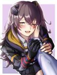 1girl 3_small_spiders absurdres black_jacket black_skirt blush brown_hair girls_frontline hair_between_eyes headgear highres jacket long_hair long_sleeves looking_at_viewer mechanical_arms mod3_(girls'_frontline) one_eye_closed open_mouth scar scar_across_eye shirt single_mechanical_arm skirt solo_focus stroking_cheek ump45_(girls'_frontline) white_shirt yellow_eyes