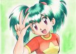 1girl :d bangs commentary_request duplica_(pokemon) eyebrows_visible_through_hair eyelashes green_background green_hair hand_up highres long_hair looking_at_viewer oka_mochi open_mouth orange_shirt pokemon pokemon_(anime) pokemon_(classic_anime) shirt short_sleeves smile solo tied_hair tongue traditional_media twintails upper_body violet_eyes w
